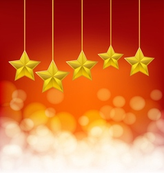 golden stars on golden ropes vector image vector image
