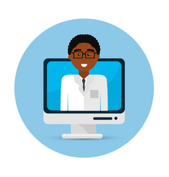 Hospital doctor computer icon vector