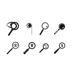 magnifying glass icon set simple style vector image
