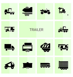 14 trailer icons vector