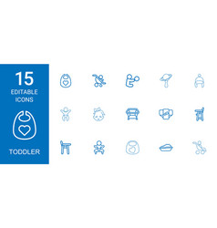 15 toddler icons vector
