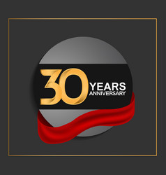 30 years anniversary logotype with golden color vector