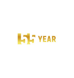 55 year happy birthday gold logo on white vector image
