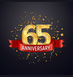 65 years anniversary logo template on dark vector image