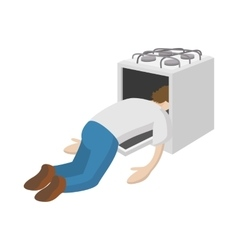 A man put his head in the oven icon cartoon style vector