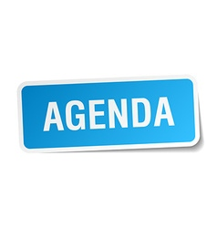 Agenda blue square sticker isolated on white vector