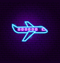 airplane neon label vector image