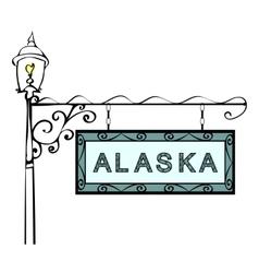 Alaska retro pointer lamppost vector