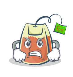 Angry tea bag character cartoon vector