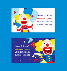 animators and clowns set business cards vector image