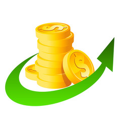 arrow stack dollar coins vector image
