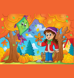 Autumn theme with girl and kite vector