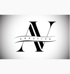 Av letter logo with serif letter and creative cut vector