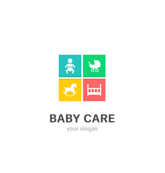 baby care icons flat style logo design vector image