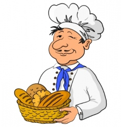 Baker with bread basket vector