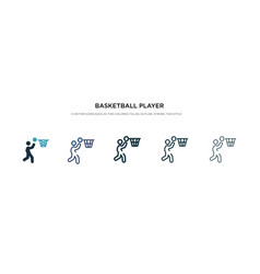 Basketball player scoring icon in different style vector