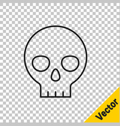 black line human skull icon isolated on vector image