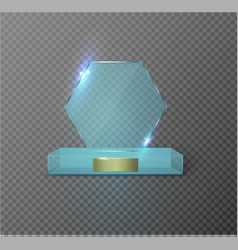blank glass trophy award on a transparent vector image