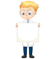 Boy in science gown on isolated background vector