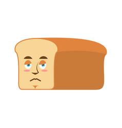 bread sad emoji piece of bread sorrowful emotion vector image