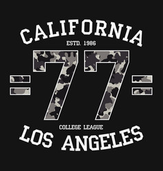 California los angeles graphic design for t-shirt vector