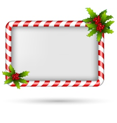 Candy cane frame with holly on white vector