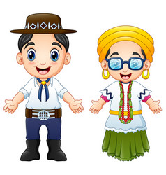 Cartoon brazilians couple wearing traditional cost vector