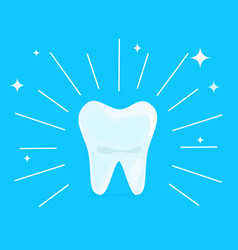 cartoon healthy bright shining tooth concept of vector image