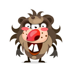 cartoon of a hairy monster with a big mouth of vector image