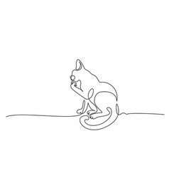 cat sitting and cleaning paw line drawing vector image