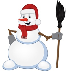 Cheerful snowman with a broom vector image