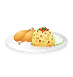 chicken with salad vector image
