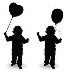 Child holding balloon heart silhouette vector