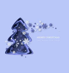christmas holiday background paper cut christmas vector image