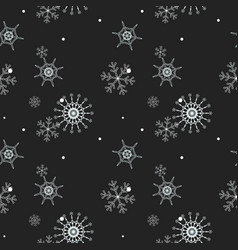 Christmas seamless pattern of snowflakes gray and vector