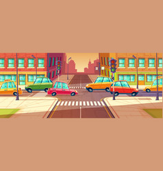 City crossroads traffic jam transport moving vector