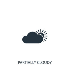 Cloud with sun weather icon simple gardening vector
