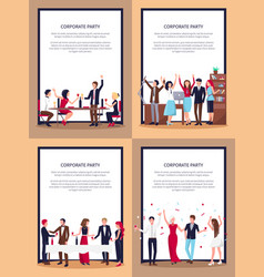 Corporate party set posters vector