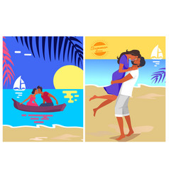Couple in love swims on canoe and kisses at sunset vector