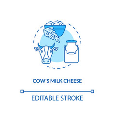 Cow milk cheese turquoise production concept icon vector