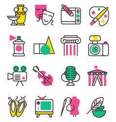 creation art graphic icons set flat design vector image