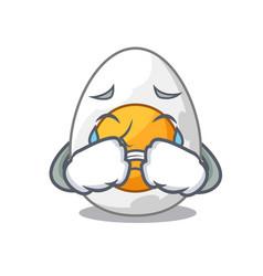 Crying peeled boiled egg on mascot cartoon vector