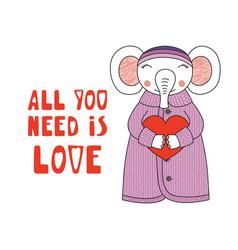 Cute elephant with a heart vector