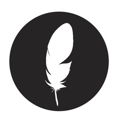 detailed feather silhouette in a black circle vector image