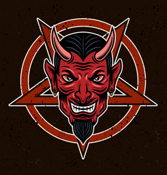 Devil head and pentagram vector