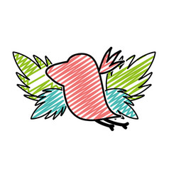 Doodle silhouette bird with exotic leaves reserve vector