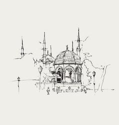 Drawing sketch german fountain vector