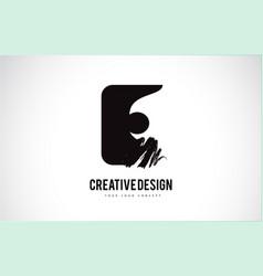 e letter logo design brush paint stroke artistic vector image