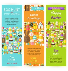 Easter Holiday Invitation Vertical Flyer Set vector