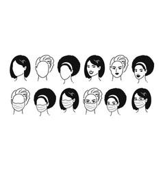 female portraits in medical masks vector image